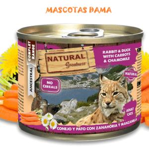 Conejo y Pato con Zanahoria y Manzanilla 200gr para gatos