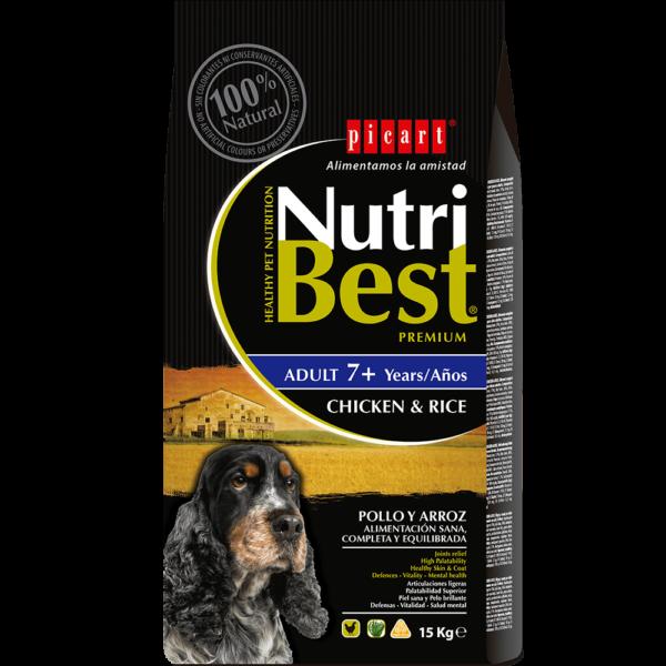 NutriBest Adult 7+ es un alimento Premium formulado por nuestros expertos en nutrición y veterinarios para que tu perro disfrute de una salud óptima. Contiene Algas Marinas del Atlántico Norte para una piel y un pelo sanos y cuidados. Tiene un bajo contenido en grasas y es rico en vitaminas y minerales para favorecer la salud de los perros senior.