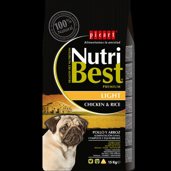 NutriBest Light es un alimento Premium formulado por nuestros expertos en nutrición y veterinarios para que tu perro disfrute de una salud óptima. Contiene Algas Marinas del Atlántico Norte para una piel y un pelo sanos y cuidados. Tiene un bajo contenido en grasas y es rico en vitaminas y minerales para favorecer la salud tu perro.