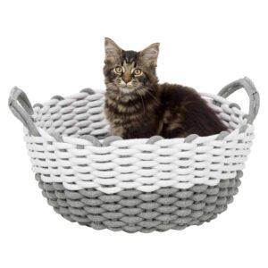 El objetivo de este diseño es que tu gato tenga la máxima comodidad y se sienta seguro.mezcla de algodón, tejido cojín con funda (poliéster) de felpa y relleno de fibra de poliéster, acolchado cojín: lavable a máquina hasta 40 °C y adecuado para la secadora (baja temperatura)