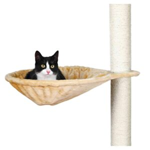 con forro de felpa (poliéster) con marco metálico apta para gatos grandes puede instalarse en la mayoría de rascadores, en vez de una plataforma color: beige