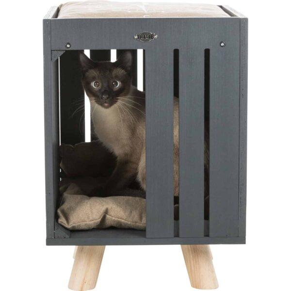 El objetivo de este diseño es que tu gato tenga la máxima comodidad y se sienta seguro.madera contrachapada, barnizada cojín reversible con imitación loneta (poliéster) y con relleno fibra de poliéster, lavable a mano con pies de madera soporta hasta 40 kg