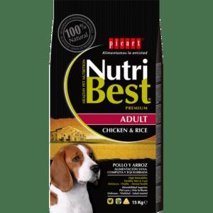 NutriBest Adult Chicken & Rice es un alimento Premium formulado por nuestros expertos en nutrición y veterinarios para que tu perro crezca sano y vital y disfrute de una salud óptima. Contiene Algas Marinas del Atlántico Norte para una piel y un pelo sanos y cuidados