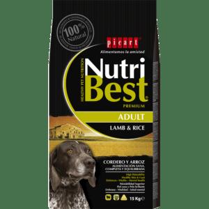 NutriBest Adult Lamb & Rice es un alimento Premium formulado por nuestros expertos en nutrición y veterinarios para que tu perro crezca sano y vital y disfrute de una salud óptima. Contiene Algas Marinas del Atlántico Norte para una piel y un pelo sanos y cuidados.