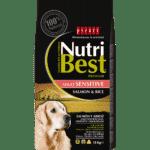 NutriBest Adult Sensitive con Salmón y Arroz está indicado para perros con sensibilidades alimentarias, digestiones difíciles, estómagos sensibles, etc. Alternativa a las dietas con pollo o cordero.